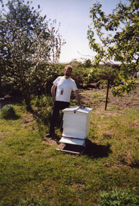 Bee Keeper Patrick Laslett with his Victorian styled 'Cottager' bee hive that was given to him on his 50th birthday Rosemary Fordham and Paul Metcalf (then beekeeping tutor at Easton College)